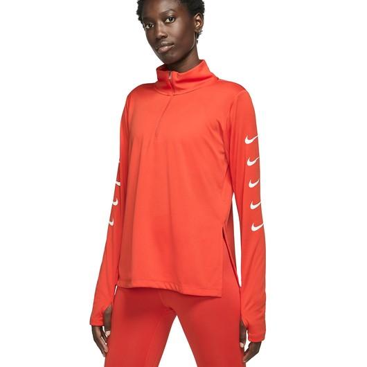 Nike Swoosh 1/2-Zip Running Top Uzun Kollu Kadın Tişört