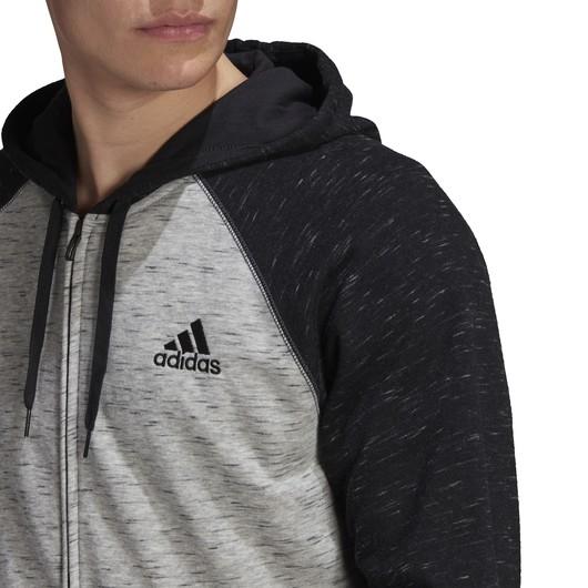 adidas Essentials Mélange Small Logo Full-Zip Hoodie Erkek Sweatshirt